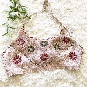 Hippie Boho Indian Halter Embroidered Crop Tie Top